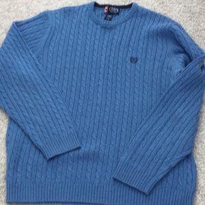 Blue men's 100% cotton sweater, L
